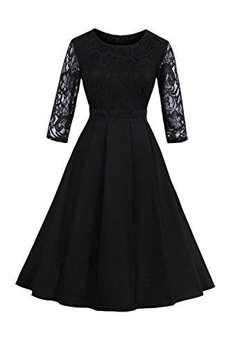 MisShow Damen Elegantes Spitzen Kleid Mini Sommerkleider Etuikleid Partykleider Abendkleid mit...