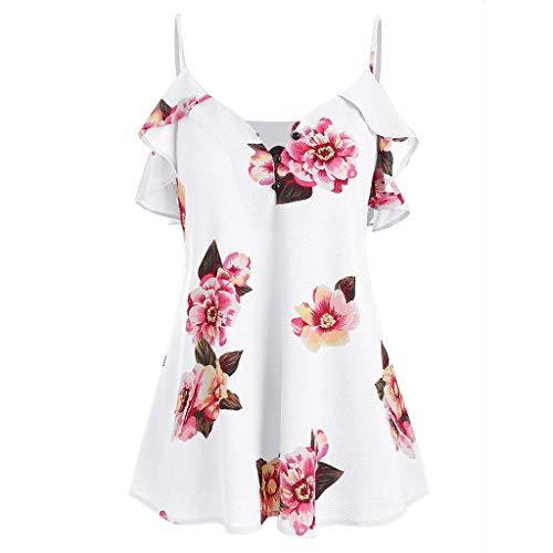 Sanahy Langarm-Bluse Günstige Chic Bluse T-Shirt Damen, Blumendruck, Ärmelloses Blumendruck-Top, V-Ausschnitt Elegant Tunika Casual Top