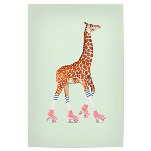 artboxONE Poster 30x20 cm Giraffe Rollerskating Giraffe von Künstler Jonas Loose