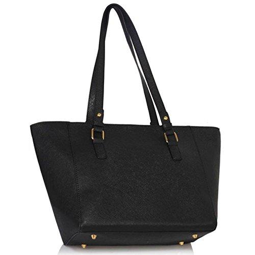 """xardi Londra 12""""grande borsa a tracolla donna in pelle sintetica maniglia borsa lavoro college Donna Tote Black/Nude"""