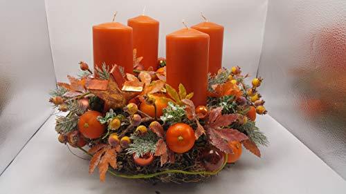 Mandarin Kerze (Weihnachtsgesteck Weihnachtskranz Adventskranz Kerzen Kugeln Mandarinen XXL)