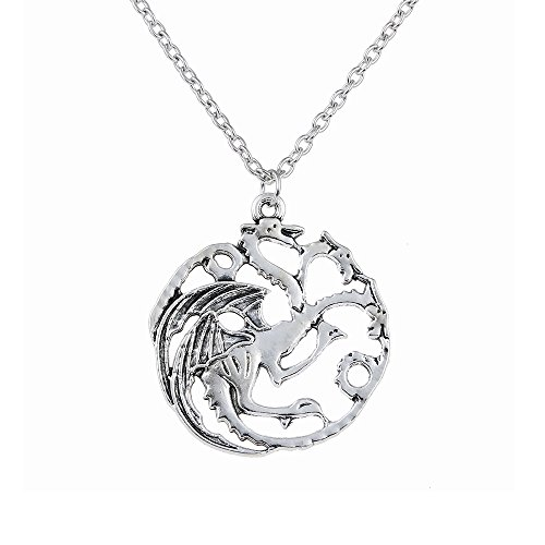 one inspirierte Targaryen antike Silber Anhänger Kostüm Halskette (nl005369) (Spiel Inspiriert Halloween Kostüme)