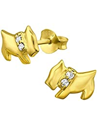 Cachorro Perro pendientes–plata de ley chapado en oro con brillantes