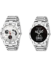 Om Analogue Classy Round Dial Day And Date Display With Silver Colour Stainless Steel Band Watch For Men/Boys...