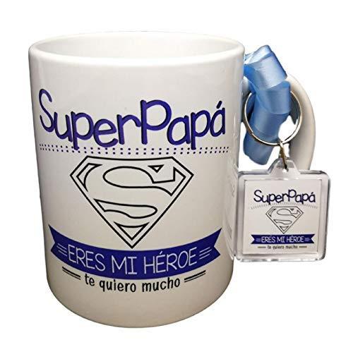 Taza Y Llavero con Frase Super Papa Eres MI HEROE TE Quiero Mucho Regalo para PAPÁ. Regalo Dia del Padre