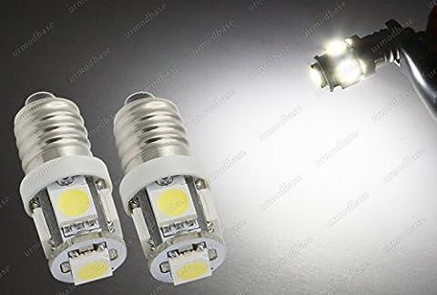 2x Culot à vis E10llb987Mes LED SMD ampoule de voiture Instrument Classique Vintage Blanc