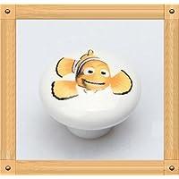 Jacmup(TM) Dia.38mm Pesce Foro singolo manopola ceramica Mobili Cucina gabinetto manopola manopola del cassetto manopola con stampa floreale