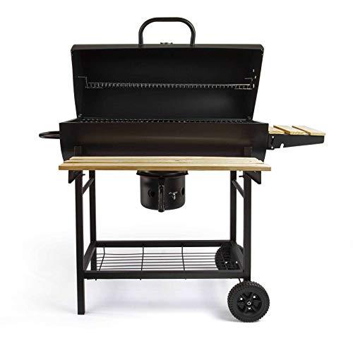Holzkohlegrill mit Deckel Grillwagen Temperaturanzeige Grillrost (Smoker Grill, Große Grillfläche 70 cm, Aschefänger, Belüftung, Stahl Schwarz)