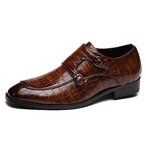 Yujingc Geschäftsspitzschuh Arbeitsschuhe für Herren Doppel Monk Buckle Krokodil-Muster-Leder-Schuhe Männlich Gelegenheits Loafer Walking Schuh,Braun,47 -