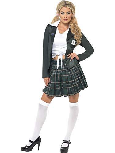 Brave Kostüm Damen - Halloweenia - Damen Frauen Braves Schulmädchen Uniform Kostüm mit Hemd, Rock, Blazer und Marabou Haarklemmen, perfekt für Karneval, Fasching und Fastnacht, S, Grün