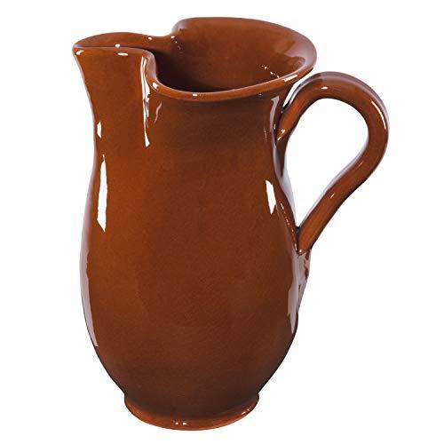 MamboCat 1L Tonkrug braun-glasiert | kühlende Wein-Karaffe | Sangria-Kanne rustikal | Ton-Geschirr für antike Gastronomie & Mittelalter-Feste | Bier-Krug