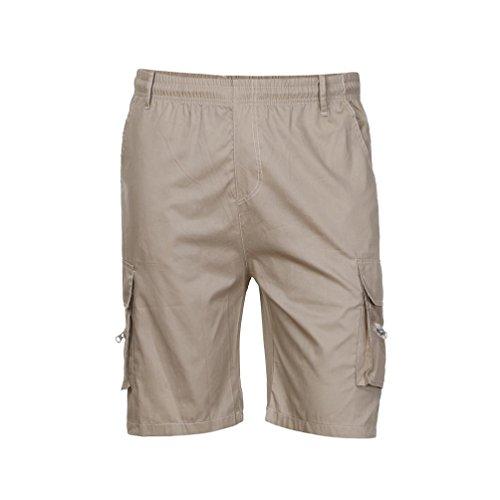MOIKA Herren Cargoshorts, Sommer Herren Shorts Herren Shorts Sport Arbeit Casual Armee Kampf Cargo Shorts Multi Pockets Werkzeug Shorts Sportshorts Sweatshorts Everyday Shorts(M,Khaki)