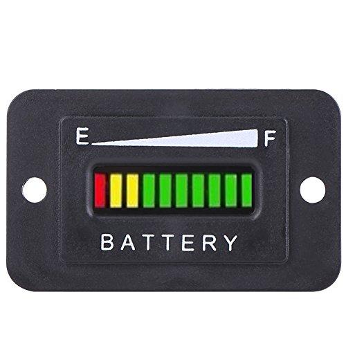 Qiilu 12V / 24V / 36V / 48V Indicador de carga batería de LED Digital Indicador medidor para Golf Cart[48V]
