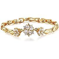 18K-oro colorato di collegamento del braccialetto braccialetto femminile Zirconia per le donne ragazze adolescenti-girls