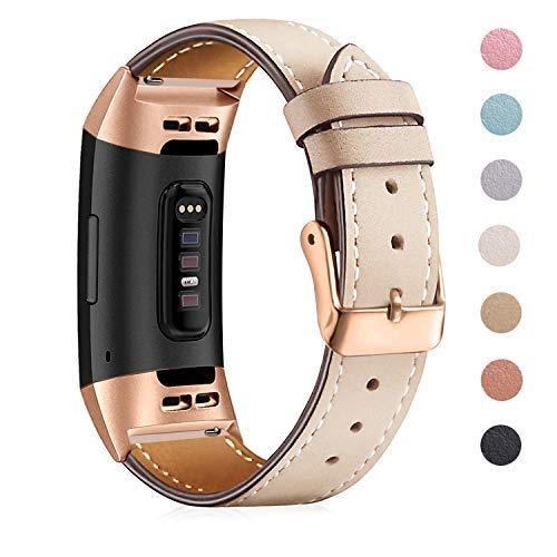 """Mornex für Charge 3 Armband,Echte Leder 3SE Armbänder, Unisex Fitness-Zubehör Ersatzband mit Metall Konnektoren(5,5\""""-8,1\"""") Rose Gold-Beige"""