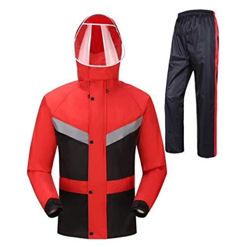 HLM Regenmantel- Erwachsene wasserdichte Jacke Set transparente Doppelkappe Regenmantel Strumpfhose festziehen Design regendicht atmungsaktiv tragbar rot schwarz Angeln Bergsteigen