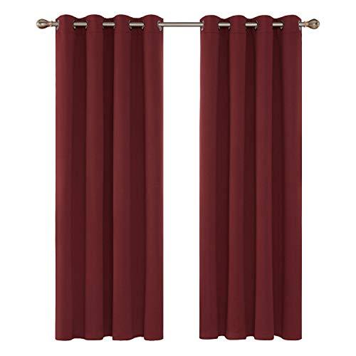 gsvorhang Ösen Gardinen Wohnzimmer Vorhang Blickdicht 175x140 cm Rot 2er Set ()