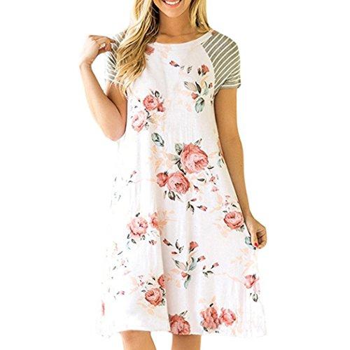 MIOIM Damen Blumen T Shirt Kleid Sommerkleid Kurzarm Rundkragen ...