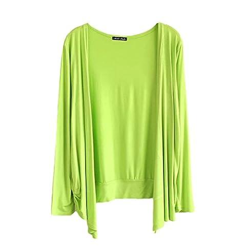 Femmes Couleur Unie Cardigan à Manches Longues Jersey Hauts Vert fluorescent Taille Unique