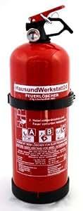 Feuerlöscher-Pulver GP-2 ABC mit Manometer + Halterung, 2kg made in Europa für Auto und Boot