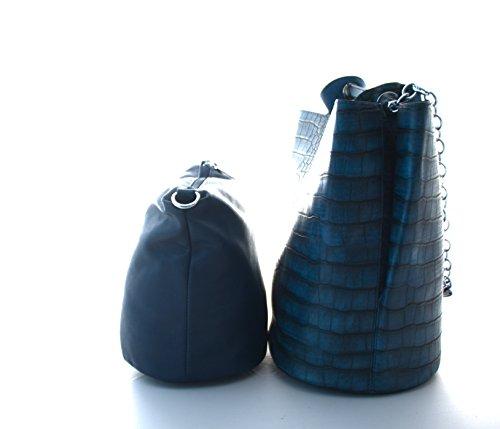 Damen Handtasche, Diese große 2 in 1 Schultertasche im Schlangenstiel gibt es in den Farben khaki, blau, rot, schwarz und grau Blau