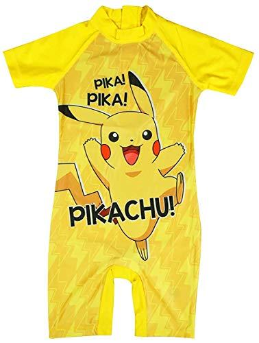 Get Wivvit Jungen Pokemon Pikachu Kostüm Sonnenschutz Alles in One Surf Badeanzug Größen von 1.5 to 5 Jahre - Gelb, 1.5-2 Years (Pokemon Kostüm Für Jungen)