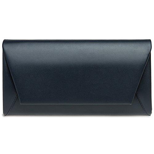 CASPAR TA410 Damen Metallic Envelope Baguette Clutch Tasche Abendtasche, Farbe:dunkelblau;Größe:One Size