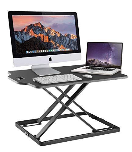 IDEER LIFE Höhenverstellbarer Steh-Sitz Computertisch, Schreibtisch Monitorständer, Workstation Sitzstehtisch Stehtisch für Monitor Laptop Tastatur Tablet (Computertisch - 05003)