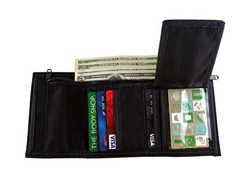 Rough Enough Cordura Trifold con chiusura in Velcro, con scatola regalo e finestra per documenti/rimovibile, tasche per carte di credito, nero
