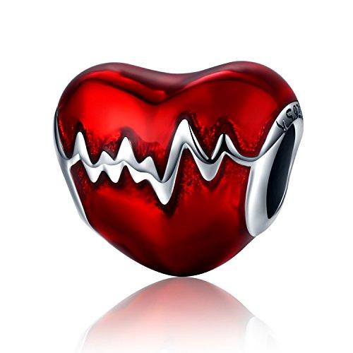 Smalto rosso battito cardiaco in argento sterling 925con ciondolo a forma di cuore, love in my heart knot charm beads