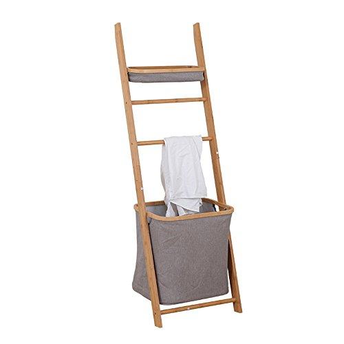 Lagerregal ZHIRONG Bambus Badezimmer Schmutzige Kleidung Ablagekorb Handtuchhalter Organizer Kleiderständer 33 * 44 * 139 cm