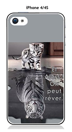 Onozo Coque Apple iPhone 4 / 4S Design Chat Tigre Blanc Et Alors !