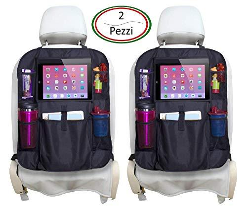 Protezione Sedile Auto AMUNIC ITALIA 2 Pezzi Proteggi Sedile Auto Bambini Coprisedile Alta Qualità Misura Universale Impermeabile Organizer Auto Portaoggetti Tasche Multiple e Supporto Tablet