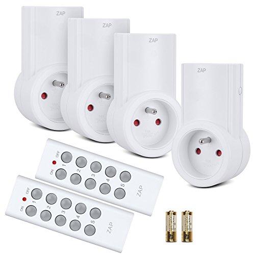 Etekcity® Lot de 4 Prises Télécommandées Programmables, Deux Télécommandes Incluses, Fonction All ON/ All OFF, Piles Fournies, Blanc
