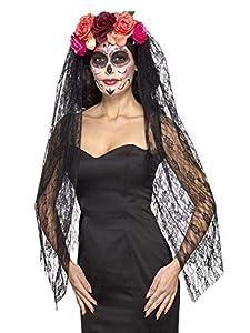 Smiffys-44963 Diadema Deluxe del día de Muertos y con Rosas y Velo, Color Rojo y Negro, No es Applicable (Smiffy
