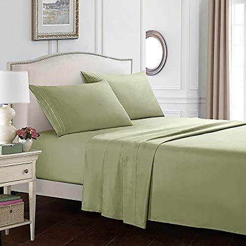 Einfarbig Leinen Set Mikrofaser Bettwäsche Doppel Bettwäsche sind Nicht verblasst (3er Set / 4er Set) Blau (Farbe : Green, Size : Twin) -