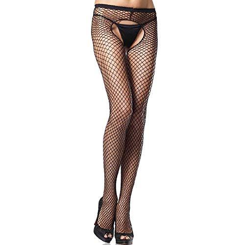 Leg Avenue 1408Q - Plus Size Crotchless Pantyhose, Übergröße, Schwarz - Industrial Net Strumpfhosen