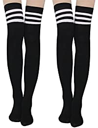 f76929ebf Women Knee High Socks - High Long Socks Striped Socks Thigh High Stockings  Leg Warmers Cotton