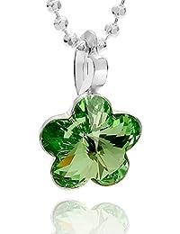 butterfly - Cadena para niña plata de ley 925, Elementos de Swarovski, colgante Flor verde, 36-39 cm