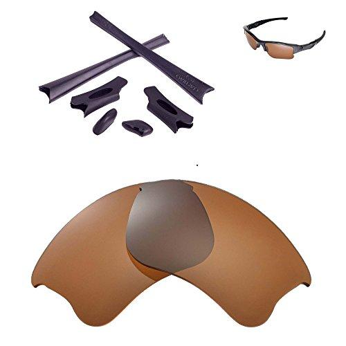 Walleva Ersatzgläser oder Linsen/Gummisatz für Oakley Flak Jacket XLJ Sonnenbrille - 26 Optionen (Braun Polarisierte Linsen + Schwarzer Gummi)