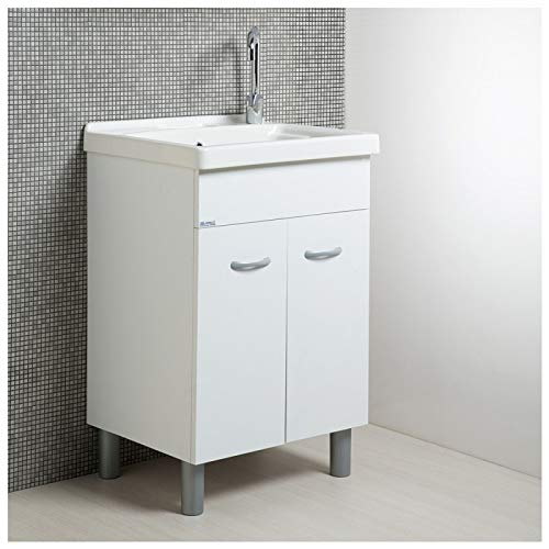 Mobile lavatoio lavapanni con vasca in ceramica 60 x 50 bianco opaco serie onda