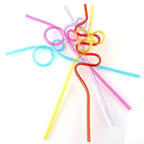ANPI 10Pcs Kunststoff Trinkhalm Heiß Bunt Farbig Flexible Wegwerf Extra Lang Plastik (Männer Frauen Fedora)