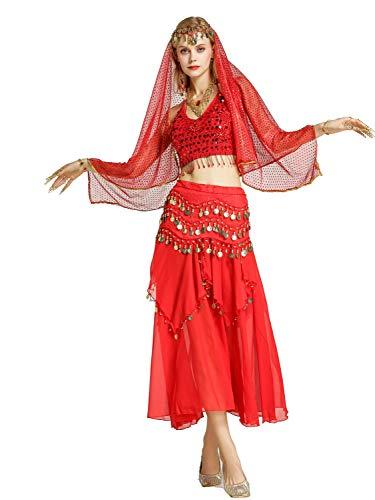 Zengbang Damen Bauchtanz Performance Kostüm Ärmellos Leibchen Top Maxirock Halloween Tanz Kostüm - Indischer Tanz Kostüm Bilder