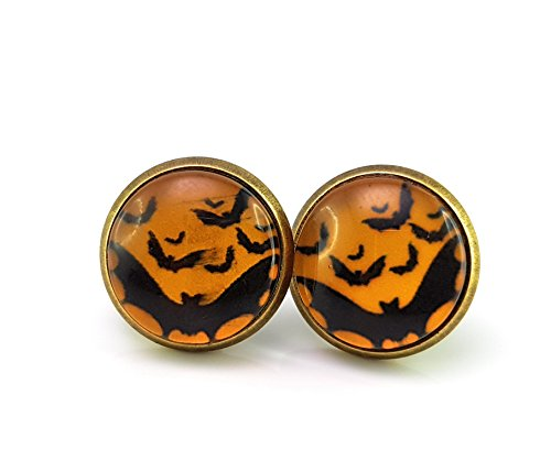 Stechschmuck Ohrstecker Handmade Halloween Bronze Fledermaus Orange Schwarz Horror Rockabilly Punk Damen Kinder 14mm 1 Paar Nickelfrei