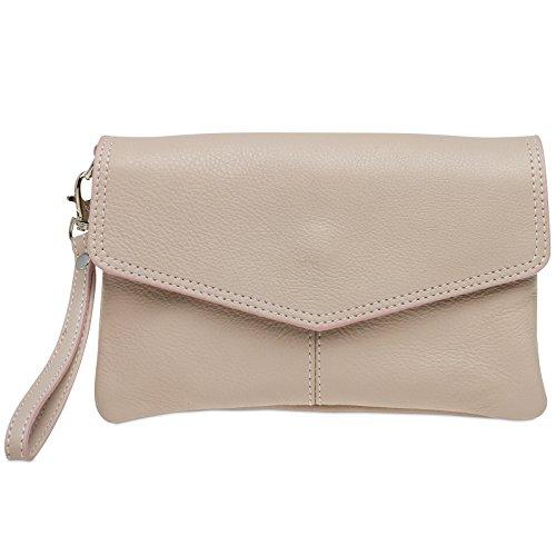 CASPAR TA322 Damen Nappaleder Clutch, Farbe:rosa (Kleine Tasche Geschenk)