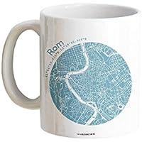 Tasse Henkeltasse Ewiges ROM Stadtplan 5 Farben, hochwertiger Henkelbecher Geschenktasse Kaffeebecher Kaffeetasse, kleines persönliches Geschenk für viele Gelegenheiten von 44spaces