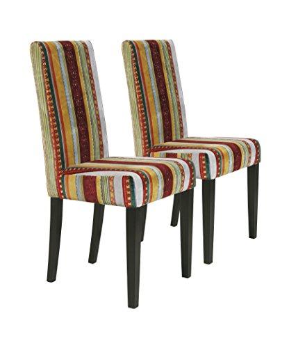 Kare Design Stuhl Econo Very British 2er Set, Polsterstuhl Esszimmer, bunter, farbiger Stoffbezug, Retro Essstuhl aus schwarzem Buchenholz, Rot-Gelb (H/B/T) 99x49x58cm -