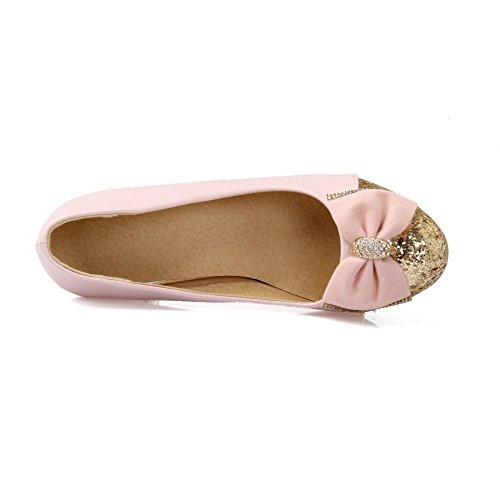 VogueZone009 Donna Tirare Punta Tonda Tacco Medio Luccichio Colore Assortito Ballet-Flats Rosa