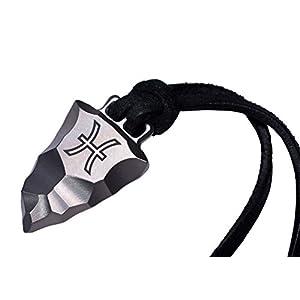 D-Vision-Jewelry Titan Faustkeil Sternzeichen Fische Amulett aus Reintitan Herrenschmuck Anhänger Lederband