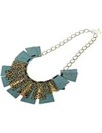 Jodie Rose Leopard Print and Green Base Metal Necklace of Length 62 cm + 8 cm extender